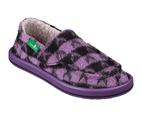Price comparison product image Sanuk Sleep Over - Girls Purple / Black Checks - 11 M US Little Kid