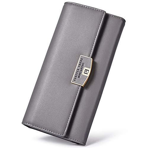 BOSTANTEN Wallet for women Soft Leather Designer Trifold Multi Card Organizer Long Clutch Gray by BOSTANTEN