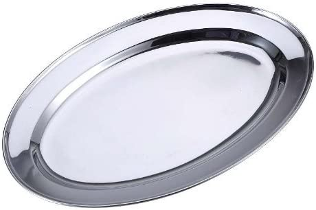 Stainless Steel Rice Tray Plate Serving Dish Platter Meat Buffet Kitchen
