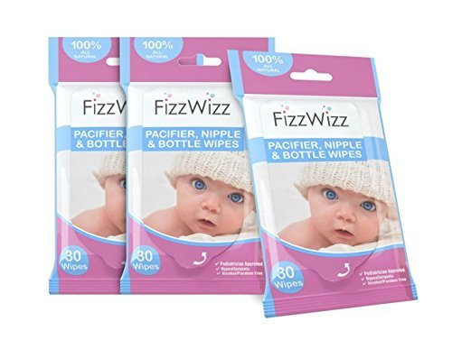 FizzWizz All Natural Pacifier, Nipple, Bottle and Breast Pump Accessory Wipes, 30 Count, 3 Piece crystal clear laboratories FWW001-30-3