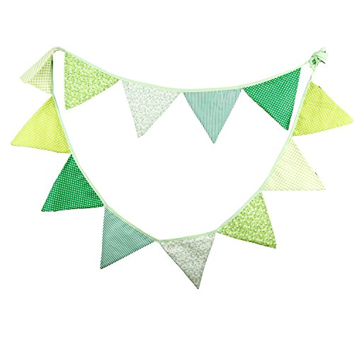 INFEI 3.2M/10.5Ft Vintage Floral Fabric Flags Bunting Banner Garlands for Wedding, Birthday Party, Outdoor & Home Decoration (Green) ()