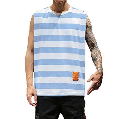 - Bsjmlxg Men's New Summer Casual Slim Fit Sport Stripe Elastic Short Large Size Tops Fitness Beach Vest Sky Blue