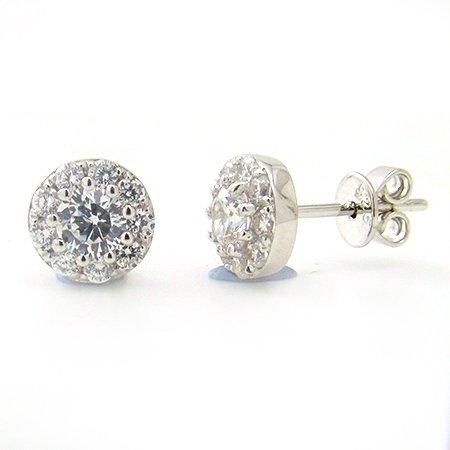 Boucle d'oreille diamant 7/8 ct tw rond coupure or blanc 9K