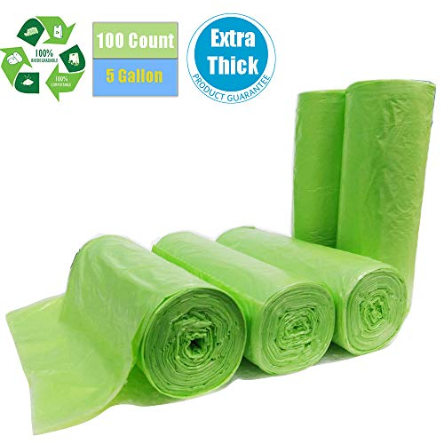 Biodegradable Trash Bags 5 gallon, 100 count, Extra Thick 0.71 MIL Small Kitchen Trash Bag Compostable Bags Recycling Garbage Bags For Kitchen Bathroom Yard Office Car