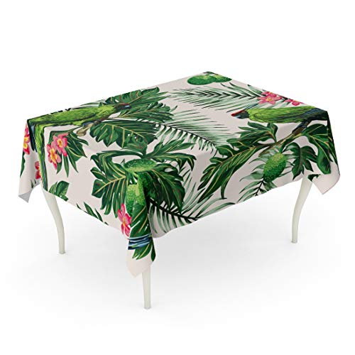 Tarolo Rectangle Tablecloth 60 x 84 Inch Watercolor Botanic Exotic Tropical Pattern Leaves Fruits Flowers and Birds Breadfruit Palm Plumeria Parrots Green Leaf Table ()
