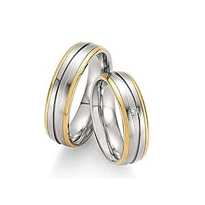 Póster con anillos de compromiso de oro 585 alianzas de acero inoxidable para hombre y mujer brillant