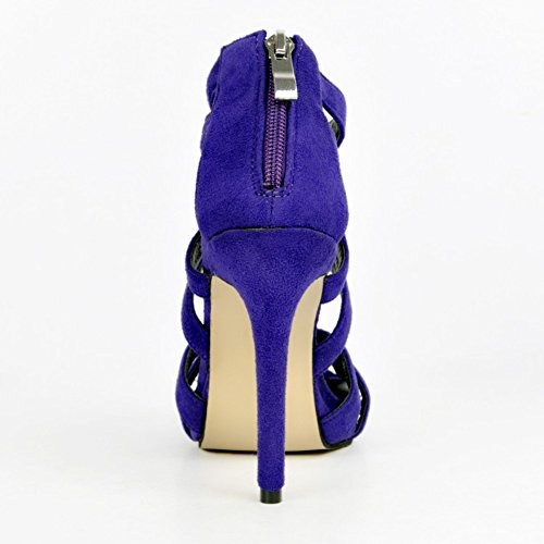 12cm Talons Purple Femmes Chaussures Taille Fermeture Découpe Kolnoo Hauts Sandales Glissière À Grande Handmade qEvHnH