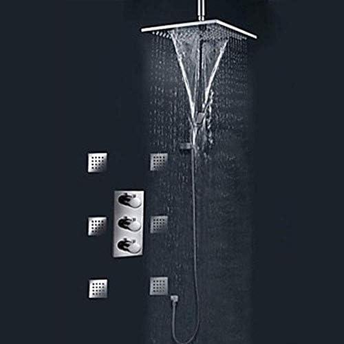 銅隠しサーモスタットサイドスプリンクラー付き壁掛け式シャワーセット蛇口レインシャワー温度制御