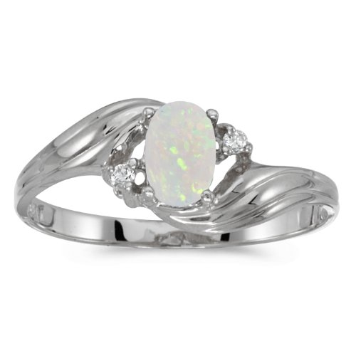 0.21 Carat ctw 10k Gold Oval White Opal & Diamond Bypass Swirl Cocktail Anniversary Fasion Ring - White-gold, Size 11 - White Gold Oval Swirl