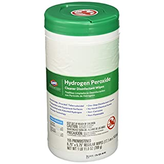 "Saalfeld 30825 Hydrogen Peroxide Cleaner Disinfectant Wipes, Kills Norovirus, HIV Rotavirus, 6.75"" x 5.75"" (Pack of 155)"