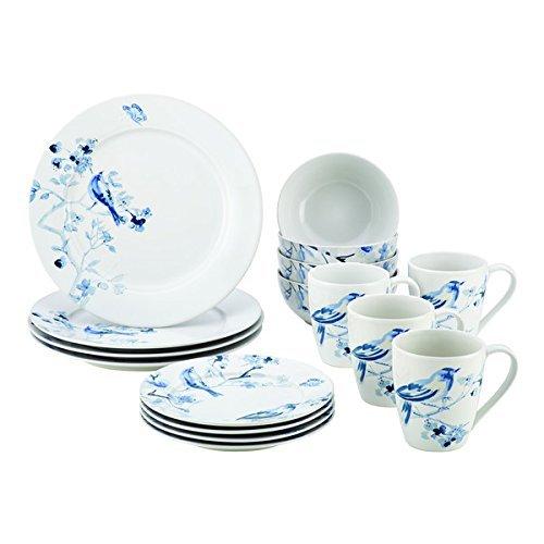 Paula Deen(r) Dinnerware Indigo Blossom 16-Piece Stoneware Dinnerware Set, Print, Dishwasher Safe