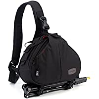 DSLR SLR Camera Bag Travel Outdoor Backpack Knapsack Waterproof and Sling Bag Shoulder Bag for Canon, Nikon, Sony, Olympus, Samsung, Panasonic, Pentax Camera and Camera Accessories (Black)