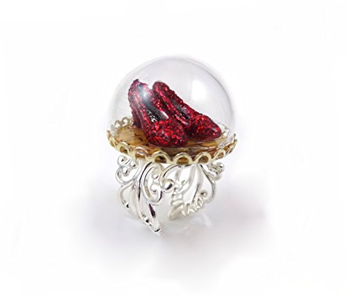 Little Gem Girl Wizard of Oz Ruby Red Slippers on The Yellow Brick Road Ring in Silver Filigree Adjustable Band