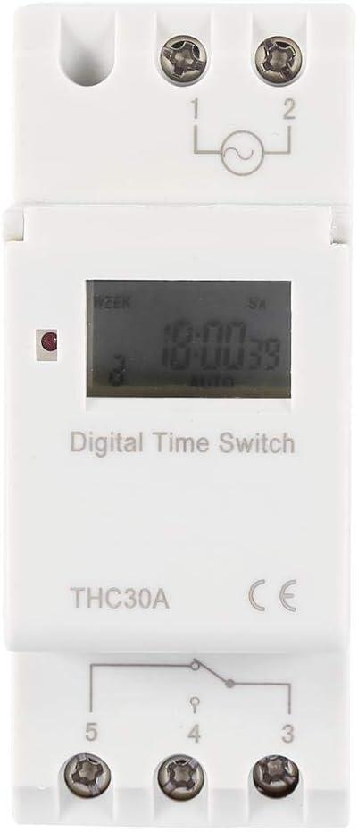 THC Nuevo temporizador programable Interruptor de tiempo Relé digital LCD DIN 30A RAIL AC-DC 12/24/110 / 220V(24V)