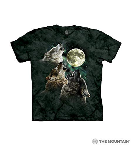 (The Mountain Three Wolf Moon Child T-Shirt, Dark Green, Large)