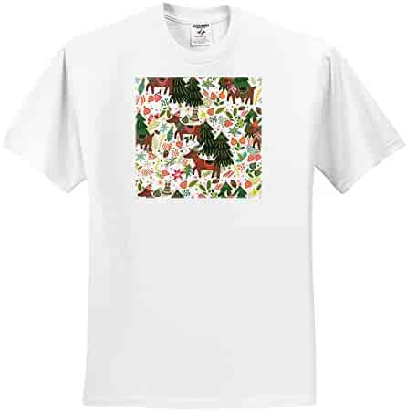 3dRose Anne Marie Baugh Christmas Pretty Merry Christmas Ribbon and Flowers Illustration Adult T-Shirt XL ts/_318568