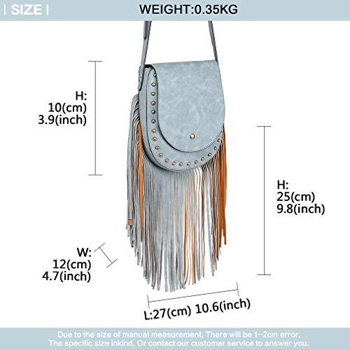 Tassel Women Miss Flap with Bag for Cross Blue Schoulder Look Closure Handbags Boho Lulu Body Trend Button Bag Ladies Suede Hobo Fringe Magnetic 8C5qZwC