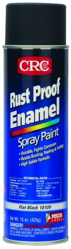 Iron Black Enamel - CRC Rust Proof Enamel Spray Paint, 15 oz Aerosol Can, Flat Black