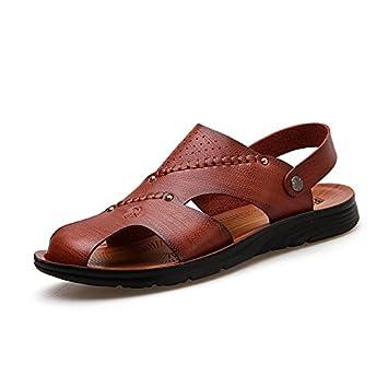 im sommer männer sandalen leder männer schuhe atmungsaktive sandstrand schuhe,40,braun