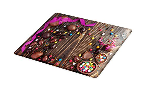 Lunarable Easter Cutting Board, Wooden Board with Chocolate