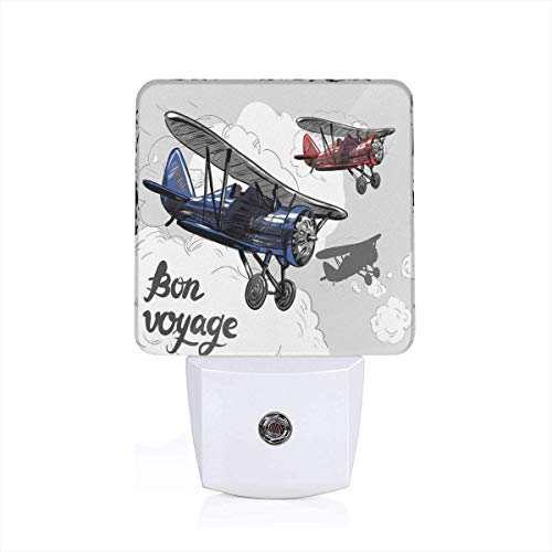Colorful Plug in Night,Retro Airplane Poster Inspired Bon Voyage Lets Travel Fly,Auto Sensor LED Dusk to Dawn Night Light Plug in Indoor for Childs - Shell Chef Bon