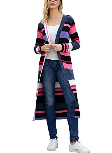Dokotoo Womens Warm Winter Ladies Fashion Thick Striped Color Block Open Front Long Sleeve Chunky Long Knit Cardigan Sweater Outwear Coat Large