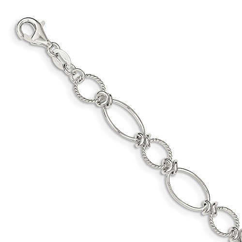lets Chain Styles Sterling Silver Polished and Textured Fancy Circle and Oval Link Bracelet ()