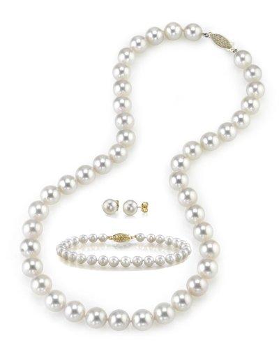 8-9mm Perle de culture d'eau douce blanc Ensemble collier, bracelet et boucles d'oreilles, 45,7cm-de qualité AAA Longueur Princesse