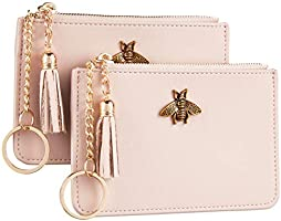 2 Pack Women Coin Purse Change Wallet Coin Pouch Card Holder Clutch with Key Chain Ring Tassel Zip by Gostwo