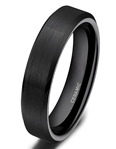 Somen Tungsten 4mm Ceramic Black Brushed Comfort Fit Wedding Ring, 8