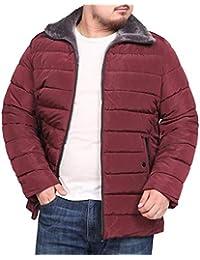 ef987d4b941 Men Loose Fit Lapel Thermal Long Sleeve Plus Size Down Coat Jacket Outerwear