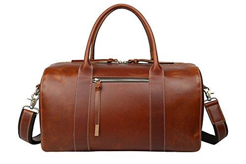Genda 2Archer Men's Vintage Classic Italian Leather Weekender Duffel Bag Luggage Tote (Brown ) by Genda 2Archer