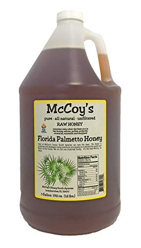 Raw Honey - Pure All Natural Unfiltered & Unpasteurized - McCoy's Honey Florida Palmetto Honey 1 Gallon ()