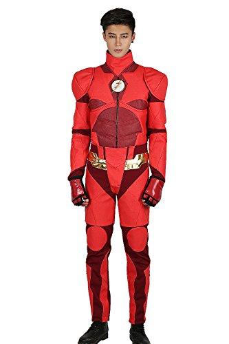 Barry Costume Halloween Allen (Deluxe JL Barry Allen Costume Outfit Suit for Adult Halloween Cosplay)