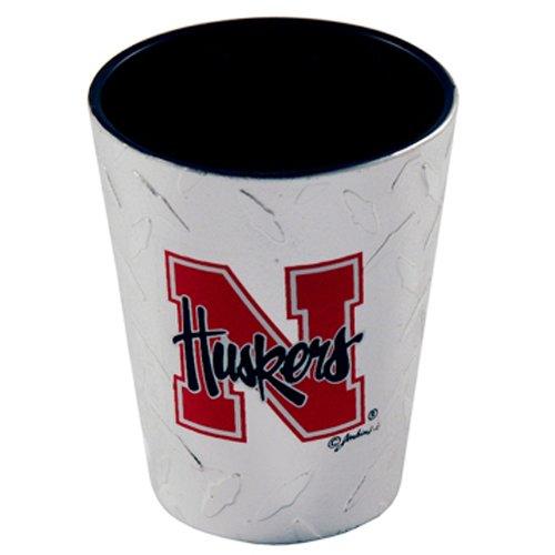 (NCAA Nebraska Cornhuskers Shotglass, Diamond Plate)