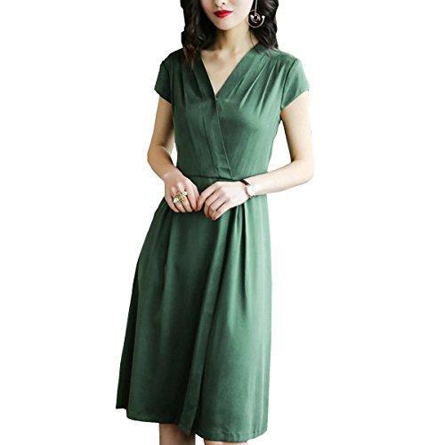 S2618 girl Midi Seide Abendkleid Kleid Damen Gestreift Cocktail Grün E Kleider Übergröße Tqn5pxwd