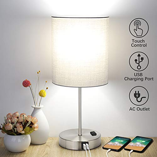Touch Control Table Lamp, 3 Way Dimmable Bedside Desk Lamp with 2 Fast USB Charging Ports and AC Outlet, Nightstand Lamp for Bedroom Living Room, Modern Office Lamp, Silver Base, 60W LED Bulb Included