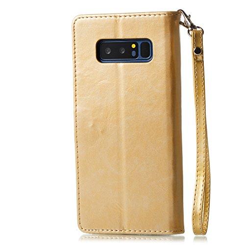 Funda Samsung Galaxy Note 8, Samsung Galaxy Note 8 Piel Carcasa Flip Case Cover Libro Premium PU Leather Cuero Carcasa Funda-EUWLY Elegante Estuche Caja Con Ultra Delgado Suave TPU Silicona Case Cubie Mariposa Dorada,Oro