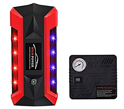 Car Jump Starter with Air Compressor Pump, 600A Peak 20000mAh 12V Emergency starting booster, Portable Power Pack, 4 USB charging Ports, Compass, LCD Screen & LED Flashlight (Red&Black)