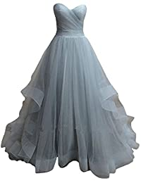 D.W.U Pleated Tulle Simple Quinceanera Gowns Sweet 15 Long Party Prom Dresses