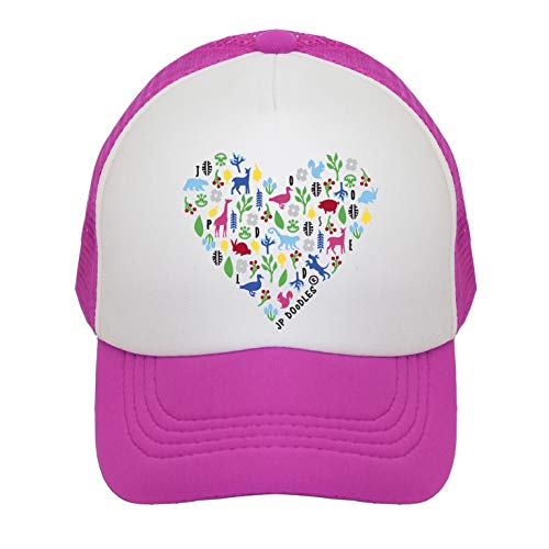 Heart on Kids Trucker Hat. The Kids Baseball Cap is Available in Baby, Toddler, and Adult Sizes. (Kiddo 2-5 Yrs, HOT Pink)