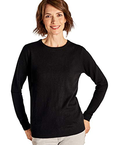 amp; Mérinos Rond Femme Col Overs Pull Wool À Black Cachemire w4p0n8