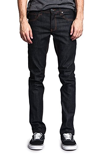 Victorious Mens Skinny Fit Stretch Raw Denim Jeans DL936 - Black/Timber - 34/30