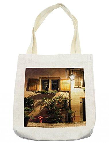 Lunarable Wanderlust Tote Bag, Alsacien Village Street View France Summer Countryside Lantern Shadows, Cloth Linen Reusable Bag for Shopping Groceries Books Beach Travel & More, (Le Costume Alsacien)