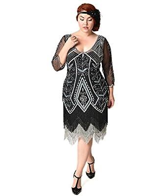 Plus Size 1920s Style Black & Silver Beaded Sleeved Scarlet Fringe Flapper Dress