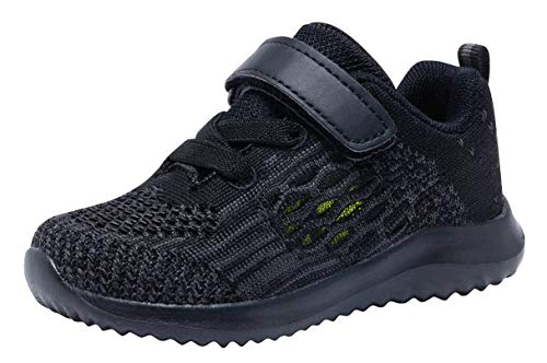 (COODO Toddler/Little Kid Boys Girls Shoes Running Sports Sneakers (9 Toddler,Ebony))