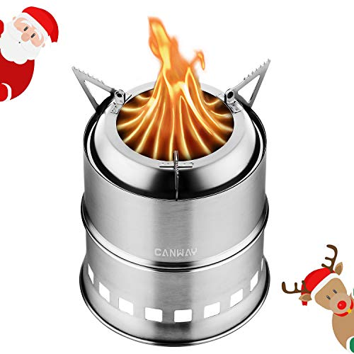 CANWAY Camping Stove, Wood Stove/Backpacking Stove,Portable Stainless Steel Wood Burning Stove with Nylon Carry Bag for Outdoor Backpacking Hiking Traveling Picnic BBQ