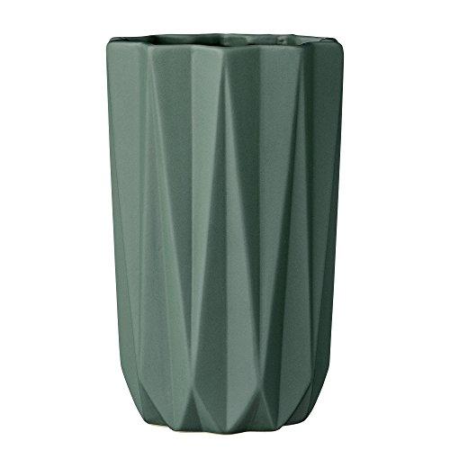 Bloomingville Dark Green Fluted Ceramic Vase