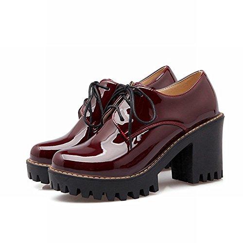 Latasa Mujeres Fashion Sintético Charol Block De Plataforma De Tacón Alto Con Cordones Oxford Zapatos Claret-red