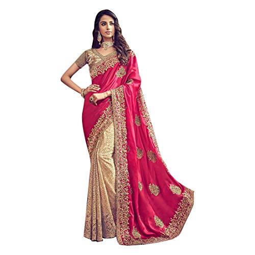 Indian Wedding Designer Pure Satin Silk Pallu Saree Sari with Melbourne Silk Blouse Women Reception wear ()